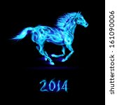 Raster version. New Year 2014: running blue fire horse on black background. - stock photo