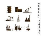 oil industry icon set design ... | Shutterstock .eps vector #1610955055
