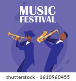 musicians with instruments... | Shutterstock .eps vector #1610960455