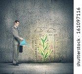 image of businessman watering... | Shutterstock . vector #161097116