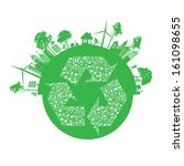 vector ecology concept   leaf... | Shutterstock .eps vector #161098655