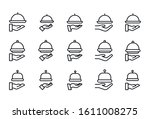 stroke line icons set of tray.... | Shutterstock .eps vector #1611008275