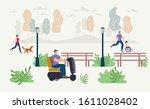 disabled people outdoor... | Shutterstock .eps vector #1611028402