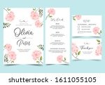 floral background with flowers... | Shutterstock .eps vector #1611055105