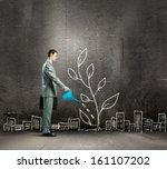 image of businessman watering... | Shutterstock . vector #161107202