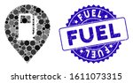 mosaic fuel station marker icon ... | Shutterstock .eps vector #1611073315
