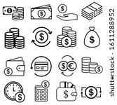 money line icons. set of... | Shutterstock .eps vector #1611288952