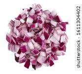 heap of diced red onion. a set... | Shutterstock . vector #1611304402