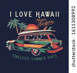 surf car drawing for t shirt... | Shutterstock .eps vector #1611308992