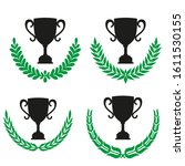 green realistic set of circular ... | Shutterstock .eps vector #1611530155