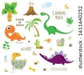 set of dinosaurs  dinosaur... | Shutterstock .eps vector #1611640252