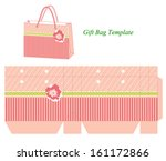 pink gift bag template with... | Shutterstock .eps vector #161172866