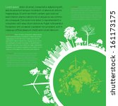 infographics green modern city... | Shutterstock .eps vector #161173175