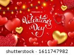 valentines day background with... | Shutterstock .eps vector #1611747982