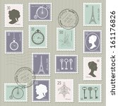 Vintage Postage Stamps Set On...