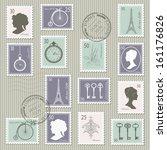 Vintage Postage Stamps Set On...