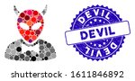 mosaic devil icon and... | Shutterstock .eps vector #1611846892