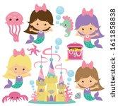 cute sea mermaids vector...   Shutterstock .eps vector #1611858838