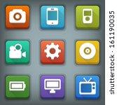 flat icon set. white symbols.... | Shutterstock .eps vector #161190035