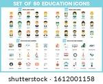 education icons set for... | Shutterstock .eps vector #1612001158
