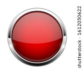 red glass button. shiny round... | Shutterstock . vector #1612050622