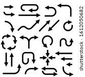 black arrows. set of flat icons.... | Shutterstock . vector #1612050682
