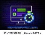 online test line icon. neon... | Shutterstock .eps vector #1612053952