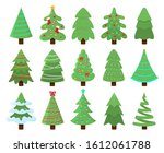 decorated xmas trees. new years ... | Shutterstock . vector #1612061788