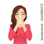 sad beautiful woman blowing...   Shutterstock .eps vector #1612086172