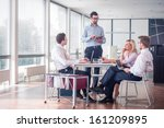 business people sitting at... | Shutterstock . vector #161209895