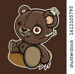 angry  zombie  brown teddy bear.... | Shutterstock .eps vector #1612105795