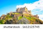 edinburgh castle on a rocky hill | Shutterstock . vector #1612125745