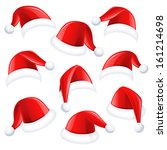 set of red santa hats | Shutterstock .eps vector #161214698