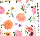 seamless pattern. floral... | Shutterstock . vector #1612222075
