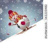 skiing snowman winter outdoor... | Shutterstock . vector #161223482