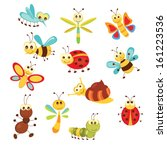set of funny cartoon insects... | Shutterstock .eps vector #161223536