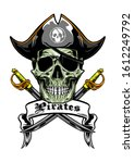 skull pirates wearing hat and... | Shutterstock .eps vector #1612249792