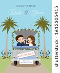 cute bride and groom couple... | Shutterstock .eps vector #1612305415