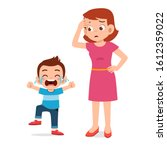 sad crying little kid girl with ... | Shutterstock .eps vector #1612359022