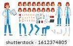 cartoon female doctor creation... | Shutterstock . vector #1612374805