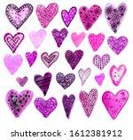 set of watercolor hand drawn... | Shutterstock . vector #1612381912