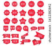 set of red discount stickers....   Shutterstock . vector #1612382842