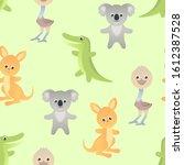 funny cute australian animals... | Shutterstock .eps vector #1612387528