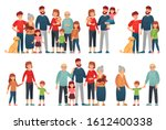 cartoon family portraits. happy ... | Shutterstock . vector #1612400338