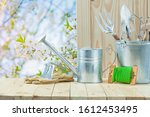 Garden Articles On Wooden Table ...