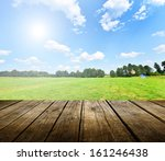 empty wooden deck table with... | Shutterstock . vector #161246438