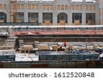 Small photo of MOSCOW, RUSSIA - JANUARY 11, 2020. Works are under way to convert the old power station and area into the Center of Modern Art (Italian architect Renzo Piano). Renovation of Yakimanskaya embankment.