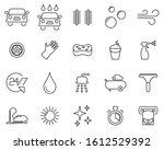car wash icons thin line set big