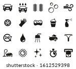 car wash icons black   white...