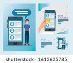 set poster of refer a friend... | Shutterstock .eps vector #1612625785